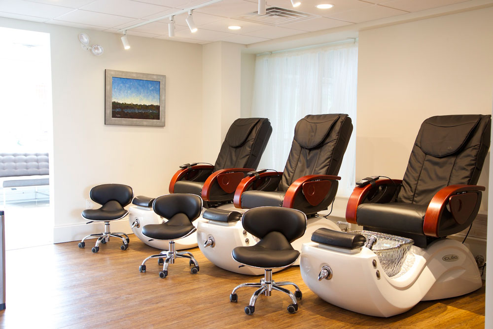Pedicure chairs at INTERLOCKS Salon + Spa