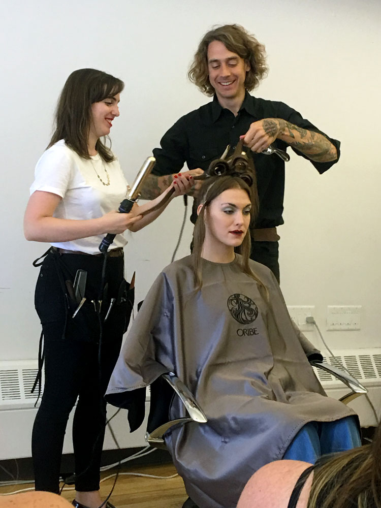 James Pecis teaching class at Oribe with model