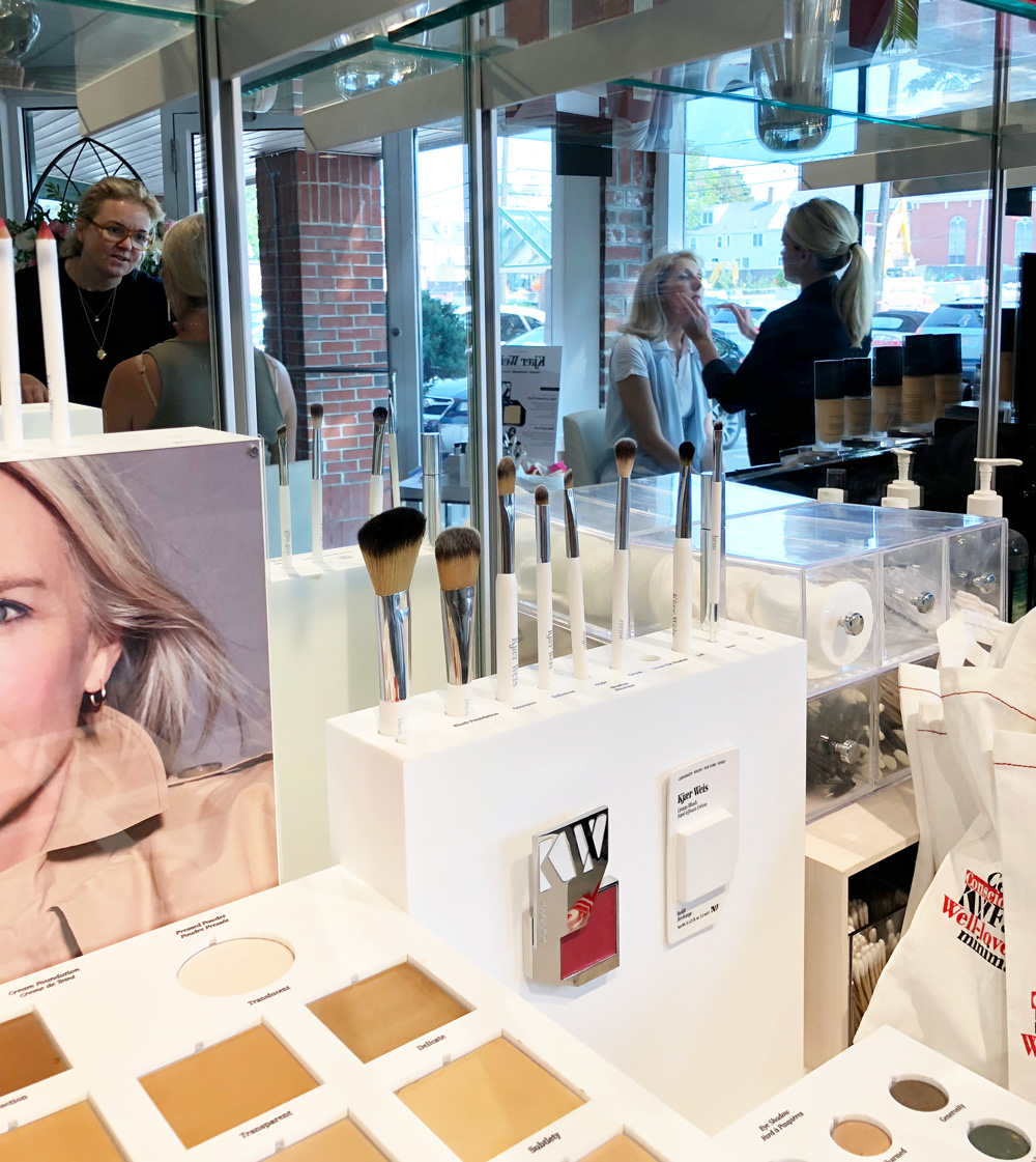 Kjaer Weis makeup display at the INTERLOCKS Kjaer Weis makeup event