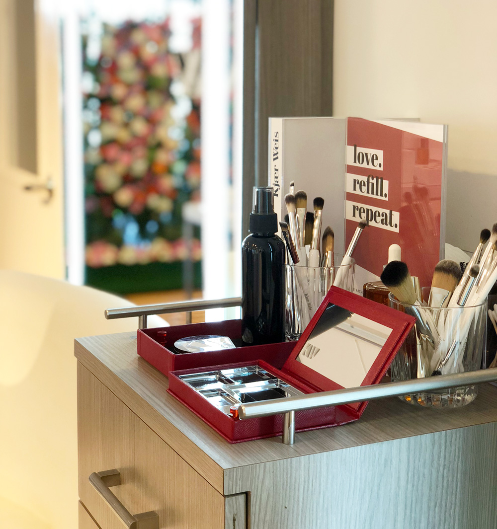 Kjaer Weis displays in the salon at the INTERLOCKS Kjaer Weis Launch Party
